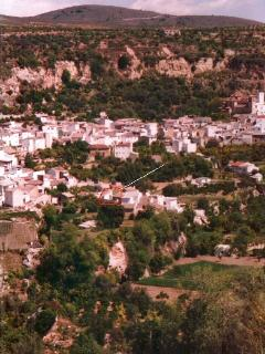 The village viewed from across the gorge