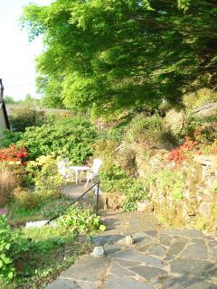 There's a large terraced garden on several levels