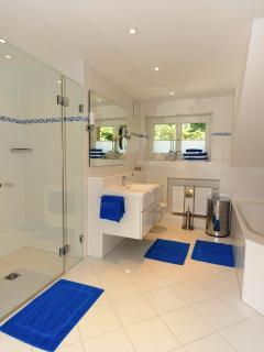 Bathroom, bathtub, large shower, washingmachine, dryer