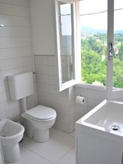 bathroom with wc, bidet, glas cabin shower