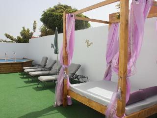 sunbathing area and pool
