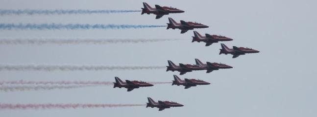 Red Arrows over Lyme Bay (RNLI week)