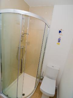 Powershower in modern shower cubicle and low level WC