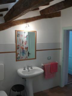 larger bathroom with bath tub in the mezzanine