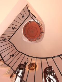 Spiral staircase leading to roof terrace