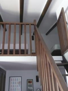 Mezzanine level in Bedroom 3 twin beds plus a double futon. Ideal for kids.