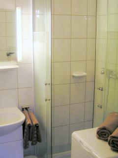 Bathroom with shower cabine and washing machine