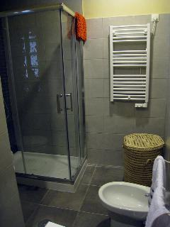 Bathroom with towel and hairdryer
