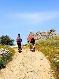 Biking amongst stone ruins