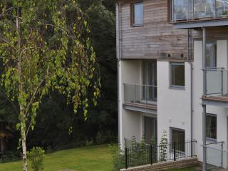 Balcony facing woodland and communal lawn