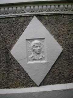 Robert Burns: stone feature on the front of the property.