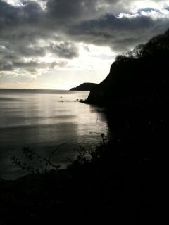 The rugged coastline after dusk