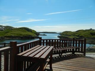 Enjoy the sea views of Scalpay's South Harbour from Bannatyne House, Harris