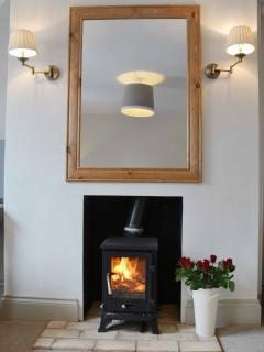 Wood burner in living room
