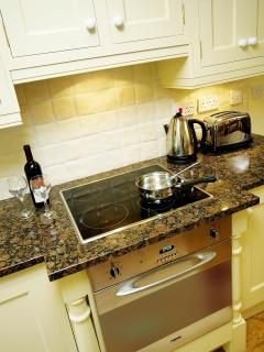 Millers Den Granite top kitchen, fan oven, halogen hob, fridge with icebox and dishwasher