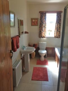 The spacious family bathroom includes a bath and shower