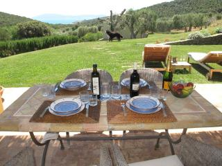 Farmhouse cottage situated in hilly Tuscan coutryside with sea view and private garden, sleeps 6, Talamone