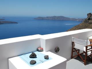 Overlooking the Santorini volcano,