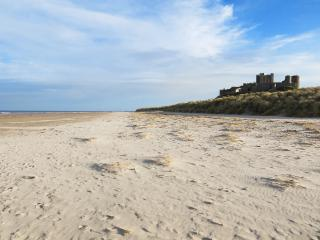 Beach and Bamburgh Castle only 10 minute walk away from Pintail Apartment