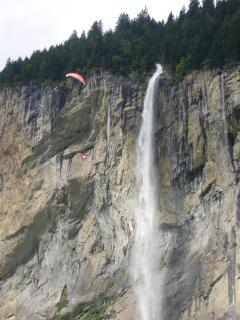 Paraglider over the Staubach Falls seen from the balcony - could be you :)