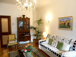 Large living room with antique furniture and paintings, crystal chandeliers from Bohemia