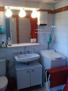 Salle de bains 1 / rez de chaussée / lavabo / wc / douche / lave-linge grande fenetre sur jardin