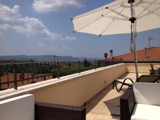 Secluded teracce with breathtaking view over Montalcino - the home of the Brunello wine