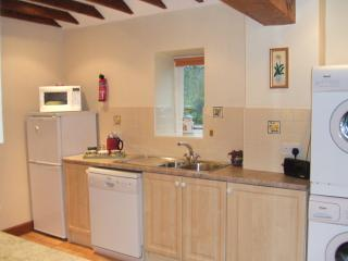 A view of the kitchen.