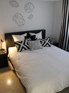 black & white guest room