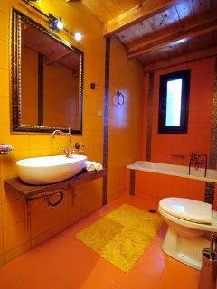 view of the ensuite bathroom, from the yellow bedroom.