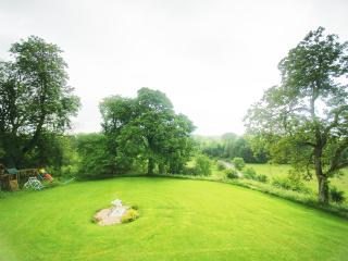 The manicured Back Lawn, as seen from The Bard's Room.