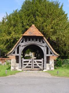 Looking out on the much photographed lychgate