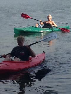Use our kayaks! (That's Joe & his sister Kathy racing)