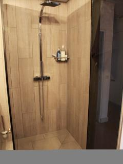 Spacious walk-in shower