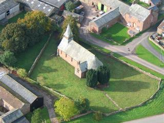 Aerial view of the church and gardens...