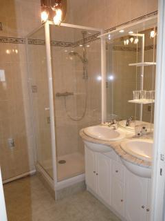 salle de bain avec douche et lavabo double