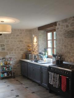 Kitchen, equipped with SMEG range cooker, washing machine, dryer and dishwasher