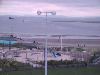 The beach and play area facing the Belmont Holiday Flats, Fleetwood.