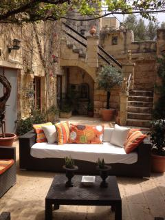 Comfortable seating in the courtyard.