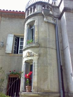 Suite's WC is located in this tower (upper window)