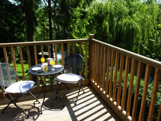 Balcony with river views is great for al fresco dining