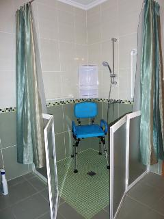 Accessible Shower with optional shower chair gates open to allow in optional wheeled shower chair