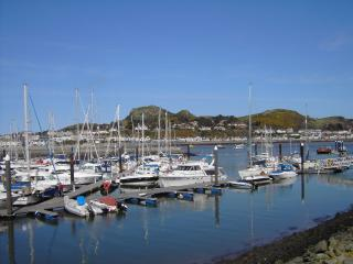 View from the house across the Marina to Deganwy and the Vardre (the site of an ancient Welsh castle