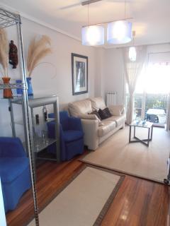 salón  con tv de plasma de 42 y sofá cama de  1, 50 de cuero modelo italiano..con salida a terraza
