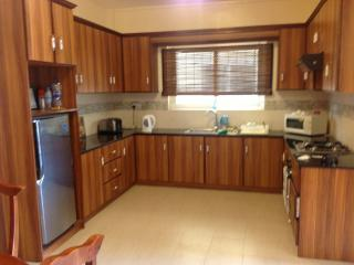 Fitted kitchen with fridge, cooker,microwave,oven,kettle