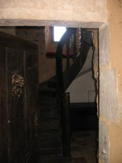 Through to the stair well and the original medieval oak staircase
