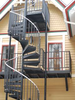 spiral fire escape of the deck