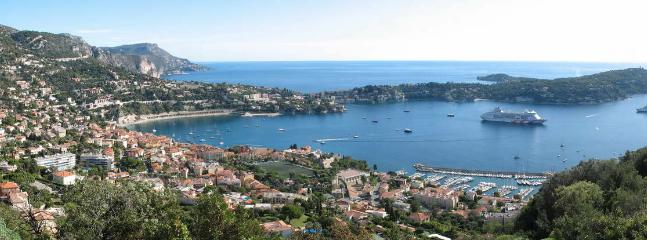 view from the fort of monta alban of ville franche sur mer and st jean cap ferrat