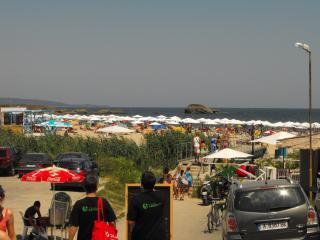 View of the fantastic cultural Bulgarian Lozenetz beach with on beach bar / night entertainment