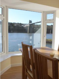Views of Menai Bridge and the Straits from the dining Room.